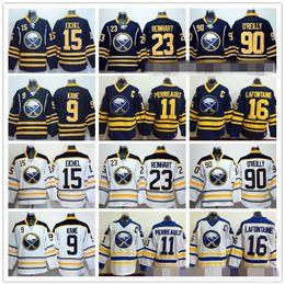 Wholesale 15 Yellow - Buffalo Sabres 15 Jack Eichel Ice Hockey Jerseys 9 Evander Kane 23 Sam Reinhart 90 Ryan O'Reilly 11 Gilbert Perreault 16 Pat LaFontaine