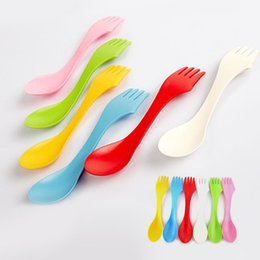 Wholesale Plastic Cutlery Sets Disposable - Wholesale- Super Useful Kitchen Spoon Fork 6Pcs Set Spoon Fork Camping Hiking Utensils Spork Combo Travel Cutlery