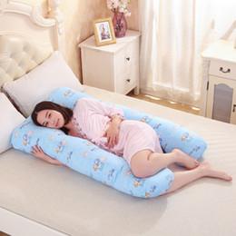 Almohada en forma de cuerpo online-Al por mayor- almohadas de embarazo en forma de U Cinturón de maternidad de maternidad Body Character almohada de embarazo Mujeres embarazadas Side Sleepers cushion130 * 80CM