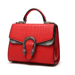 Wholesale Alligator Heads - New famous brand NO LOGO mini luxury Tiger head 3D relief designer Alligator serpentine women handbags shoulder leather bags tote bag