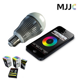 Wholesale Rgb Led Light Wifi Controller - 2.4G 9W RGBW RGB White LED Lighting Bulb Dimmable Lamps E27 AC85V-265V Mi Light Series + 4-zone remote control + Wifi controller Smartphone