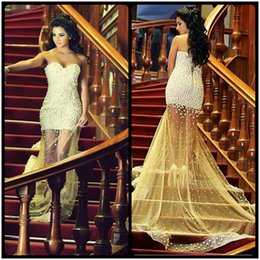 Wholesale Evening Dress Fully Beading - Fully Pearl Beaded Sweetheart Tulle Mermaid Prom Dresses 2017 Elegant Evening Formal Gowns Sexy See Through Prom Dress