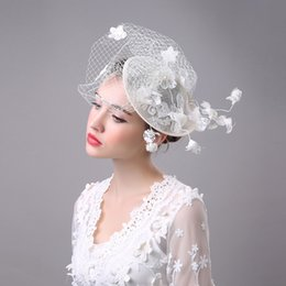 Wholesale Sinamay Bridal Fascinator Hat - 2017 New Luxury Bridal Hat Fascinator Handmade Gauze Lace Flower Pearls Vintage Lady Elegant Hair Headdress Wedding Accessories
