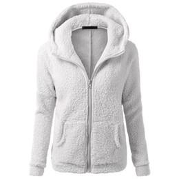 Invierno sudaderas con capucha de las mujeres de piel sintética de cordero de manga larga sudaderas abrigo sólido mujer más tamaño cremallera gris rosa moda sudadera con capucha desde fabricantes
