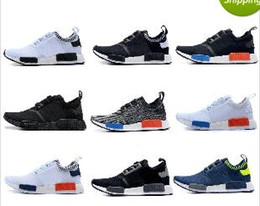 Wholesale Shoes Famous Men - 12 Color Drop Shipping Cheap Famous NMD Runner Primeknit White Red Blue Men's Sports Running Athletic Sneakers Shoes Size 7-11.5