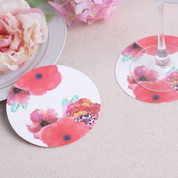 Wholesale High Quality Favors - 1200pcs=100bags Lot+Eco-friendly High Quality Rose Flower Paper Coasters Wedding&Bridal Shower Favors(Set of 12)+FREE SHIPPING