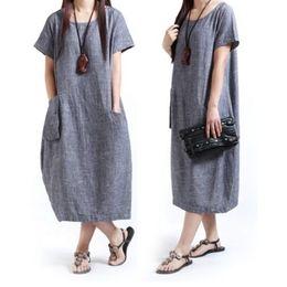 Wholesale Loose Short Dress - summer style cotton linen dresses plus size women casual loose short sleevel pocket long dress vestidos femininos party
