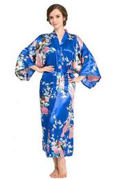 Wholesale Sexy Purple Nightgown Long - Wholesale-RB015 Satin Robes for Brides Wedding Robe Sleepwear Silk Pijama Casual Bathrobe Animal Rayon Long Nightgown Women Kimono XXXL