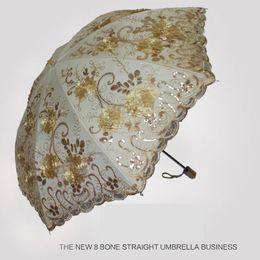Wholesale Super 55 - riches and honor peony special sunscreen vinyl umbrella Super light embroidery parasol umbrella sunny and rainy umbrella