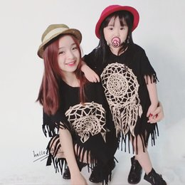 Wholesale Short Sleeve Tassel Dress - 2016 Summer Mother Daughter Dresses Short Sleeve Matching Clothes Cotton Tassel Mom And Daughter Dress Family Look Girl And Mother Clothing
