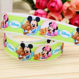 "Wholesale Grosgrain Ribbon Printed Bear - 7 8"" 22mm Happy Bear Pink Printed Grosgrain Ribbons DIY Hairbows Accessories Headwear Gift Wrapping Materials A2-22-2477"