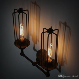 Wholesale Antique Vintage Hardware - vintage Antique Iron industrial retro hardware lamp with E27 Edison bulb RH loft DIY rustic Edison Wall Lamp for Bar Hotel Indoor Lighting