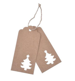 Wholesale Blank Gift Cards - Hot 10.5*4.5cm Hollow Tree Scalloped Kraft Paper Card   Blank Tag   Christmas Gift Tag Price Label