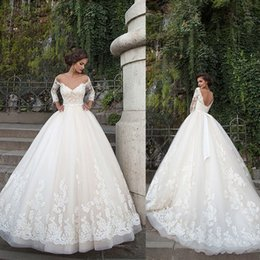 Wholesale Pearl Shoulder Wedding Dress - 2018 Plus Size Lace Wedding Dresses Off Shoulder Long Sleeves Backless Ball Gown Chapel Train Tulle Bridal Gowns Custom Made