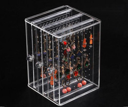 Wholesale Multi Layer Earrings - Multifunction Women's Jewelry Storage Box Acrylic High Quality Earring display stand Pendant Locket ear stud Case holder rack Free Shipping