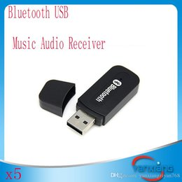 Wholesale Blutooth For Car - Bluetooth USB A2DP Adapter Dongle Blutooth Music Audio Receiver Wireless Stereo 3.5mm for Car AUX Android IOS Mobile Phone 5pcs YX-JS-01