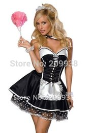 Wholesale French Halloween Costumes - Wholesale-Hot French Maid Cosplay Women's Bartender Dress Maid Anime Costume Halloween Costumes for women