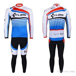 Wholesale Thermal Wear Fabric - Free shipping! CUBE 2013 #2 Winter long sleeve cycling jerseys jacket kit bike bicycle thermal fleeced wear set+Plush fabric!
