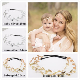 Wholesale Grecian Wholesalers - Grecian Garland Forehead Hair band elastic Mom and Baby Gold Silver Leaf Headband Hair accessories.Mother and daughter headwrap ,MY022
