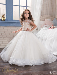 Wholesale Ballgown Rhinestone Wedding Dress - Kids Wedding Dresses 2017 pentelei with Cap Sleeves and Sweep Train Lace Appliques Tulle Ballgown Flower Girls Gowns Pearls Sash