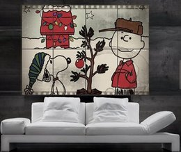Wholesale Wallpaper Shipping - Charlie Brown Snoopy christmas tree Jingle Bells Star huge giant poster print wall art 8 parts free shipping NO276