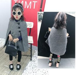 Wholesale Girls White Ponchos - Children cloaks Girls black white plaid worsted ponchos Kids sashes bottons stand-up collar capes Autumn Winter fashion Kids outwears C2046