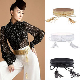 Wholesale Obi Belt Gold - Korean Fashion Womens Celeb Leather Wide Obi Band Tassel Chains Party Waist Belt