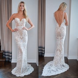 Wholesale Wedding Guipure - Stunning Berta 2017 Wedding Dresses Mermaid Appliques Guipure Lace Sheer Tulle Bridal Dresses See Through Bodice Backless Pearls