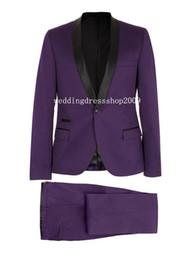 Wholesale Mens Harris Tweed Blazer - New Purple Tuxedos For Men with Black Satin Lapel Mens Wedding Tuxedos for Groom Dinner Pop Mens Suits Jacket Blazer (Jacket+Pants+Bow Tie)