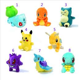 Wholesale Pokemon Pikachu Plush - Poke Plush dolls toys EMS 12-17cm 8 style children Pikachu gengar Lapras Charmander Bulbasaur Jeni turtle Plush dolls B001