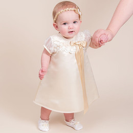Wholesale Cheap Boys Christening Gowns - Custom Made Baby Girls Baptism Dresses 2016 Beige Taffeta with Lace and Bow Tea-length Short Sleeve Baby Boys Christening Gowns Cheap