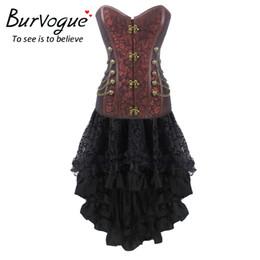 Wholesale Maxi Skirt Woman - Burvouge New Women Gothic Corset Dress Party Lace Maxi Corset Dress Push Up Corsets Bustier Top Steampunk Corsets Skirts