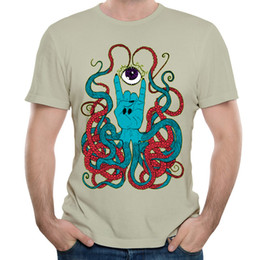 Wholesale Unique Design Paint - Weird Creatures On T-shirt Hiphop Stylish Male Hot Tees Unique Print For Men Whimsical Painting Design Short Sleeve Tops Octo
