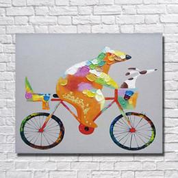 Marcos decorativos para colgar online-Hecho a mano Panda Riding Bicycle Oil Painting on Canvas Arte de la pared Home Decorative Modern Bedroom Decoración de la pared Hanging Wall Pictures No enmarcado