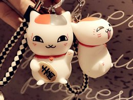 Wholesale Lovers Cats - Maneki Neko Lucky Cat Toy Key Ring Couple Car Pendant Cute Buckle Mini Lovely Toy Keychain Leather Rope Car Key Chain B770L