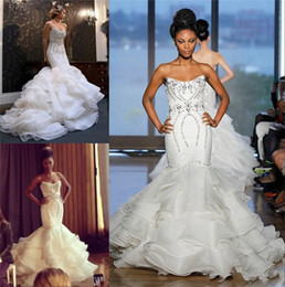 Wholesale Strapless Beaded Tulle Gown - 2017 New African Mermaid Wedding Dresses Plus Size Bling Crystal Beaded Court Train Bridal Gowns Organza Ruffles Tiered Skirt Bridal Dress