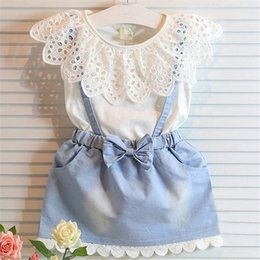Wholesale Children Babies Wholesale Clothes - 2016 Girls Dress set Kids Summer Outfits Children Lace Dresses Baby Clothes Girl Clothing suit Toddler White T Shirts Denim Skirt suits new