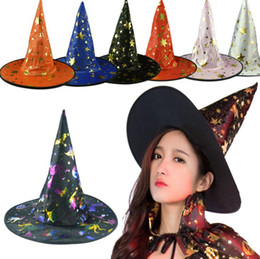 Wholesale halloween witches hats - Witch Pointed Cap Colorful Star Print Halloween Costume Party Hats Women Men Halloween Costume Accessory Devil Cap