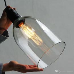Wholesale Diy Ceiling Pendant - Crystal Bell Glass Pendant Light Retro Industrial DIY Ceiling Lamp Light Edison Bulb E27 Lighting Fixture Bar Dining room Loft Pendant Lamps