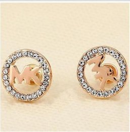 Wholesale Classic Gold Earrings - Classic Vogue Letter Rhinestone Earring Gold, Silver, Rose Gold Color Round Ear Stud for Women Lady Girl ady Girl Luxury Jewelry