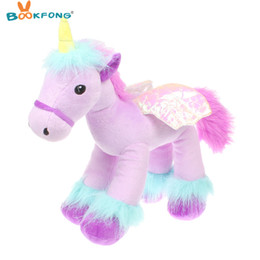 Wholesale Game Horse - Bookfong 35Cm Lovely Flying Horse Purple Angel Unicorn Plush Toy Baby Dolls Stuffed Animal Toys For Children Birthday Gift Toys
