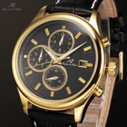 Wholesale Ks Men Mechanical Automatic - KS Black Dial Gold Stainless Steel Case Day Date Month Display Leather Strap Analog Wrist Men Automatic Mechanical Watch   KS151