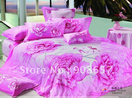 Wholesale Magenta Bedding Sets Flowers - Active Printed Cotton bed sheets 4pc Queen bedding set magenta flower romantic floral pattern New Comforter Quilt Cover bedlinen