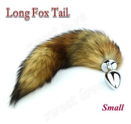 Wholesale Small Anus - 70*28mm Small Metal Erotic Anal Butt Plugs +35cm Long Fox Tail, Anus Sexy Toys For Women & Men Anal Butt Plug AS026S BY DHL
