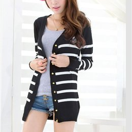 Wholesale Girls Fashion Sweaters Cheap - HOT SALE Fashion Warm Women Cardigans Sweaters Coat Loose Long Sleeve Stripe Girls Knitted Female Casual Outerwear Cheap Sweater