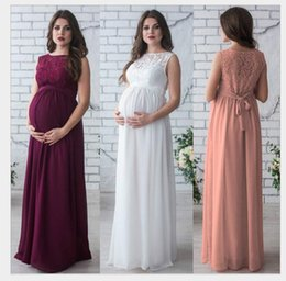Wholesale Loose Maternity Dresses - 2017 Summer Sleeveless New Lace Patchwork Maxi Long Loose Maternity Pregnant Round Neck Dresses Clothes For Photography Props