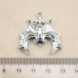 Wholesale Antique Bat - 7Pcs 32*31mm antique Silver Tonebig bat Charms Zinc Alloy DIY Handmade Jewelry Pendants Wholesale