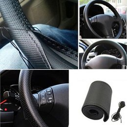 Wholesale Steering Wheel Cover Wholesale - 2017 All Size 36-40cm Car Styling Genuine Leather Auto Car Steering Wheel Cover Cap Anti-slip Car Decoration With Needles and Thread