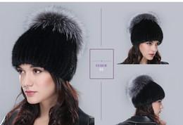 Wholesale Genuine Fox Fur Hat - Russia winter hats for women genuine mink fur hat with whole silver fox fur top 2015 fashion elegant beanies high-end female cap