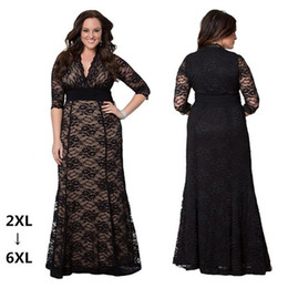 Wholesale Dresses Size 6xl - Ankle length elegant plus size formal dresses high waist deep v sexy lace hollow out dress short sleeve casual dresses XXL-6XL
